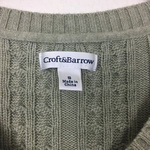 croft & barrow Sweaters - Croft and Barrow Green Cable Knit Sweater